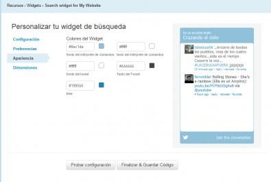 widget de búsquedas Twitter